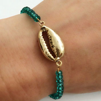 Mermaid Bracelet- 24k Gold dipped Shell and Emerald Czech Crystals
