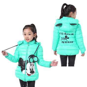 New winter girls jacket cartoon coat cotton-padded clothes cotton-padded clothes children's coat Kids clothes jacket for girls