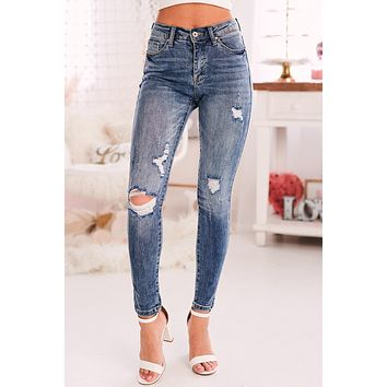 In No Hurry Mid-Rise Distressed Jeans (Medium)