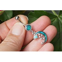 MOP Crescent Moon and Stars Silver Belly Button Ring