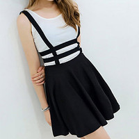 Zippered Cut Out Black Black Suspender Skirt