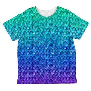 Halloween Mermaid Scales Costume All Over Toddler T Shirt