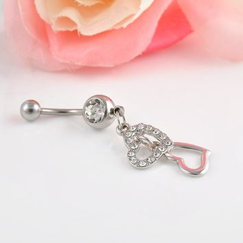 High quality Double Hearts Rhinestone Crystal Medical Steel Belly Button Ring Dangle Navel Body Jewelry Piercings Free shipping