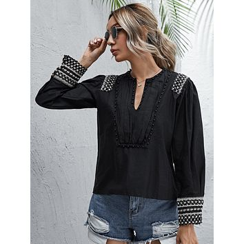 Crochet Panel Notched Beaded Detail Blouse