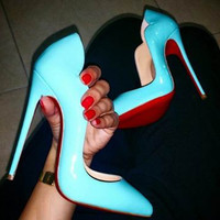 Lola Mint Blue Patent Leather Pumps