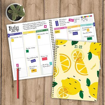 July 2021-June 2022 Make Lemonade Large Daily Weekly Monthly Planner + Coordinating Planning Stickers