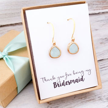 Mint Glass Drop Earrings