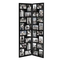 """Adeco Black Wood Hinged Folding Screen-Style Collage Picture Photo Frame 32 Openings, 4x6"""""""