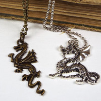 Dragon Necklace on Ball Chain, Silver Tone, Fantasy Jewelry for Men