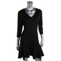 NY Collection Womens Petites Textured Doubleknit Wear to Work Dress