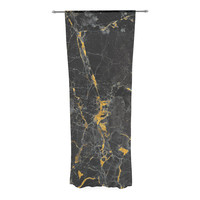 "KESS Original ""Gold Fleck Black Marble"" Digital Abstract Decorative Sheer Curtain"