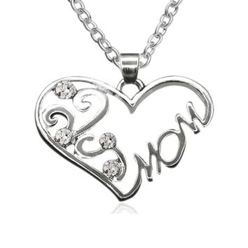 MOM CZ Heart Necklace