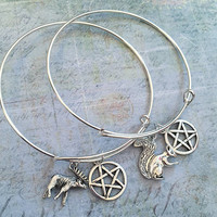 Moose And Squirrel Best Friend Bangle Bracelet Set FIT WRISTS 6.5 to 8.5 inches, Dean To My Sam, Sam To My Dean,Supernatural, Team Free Will