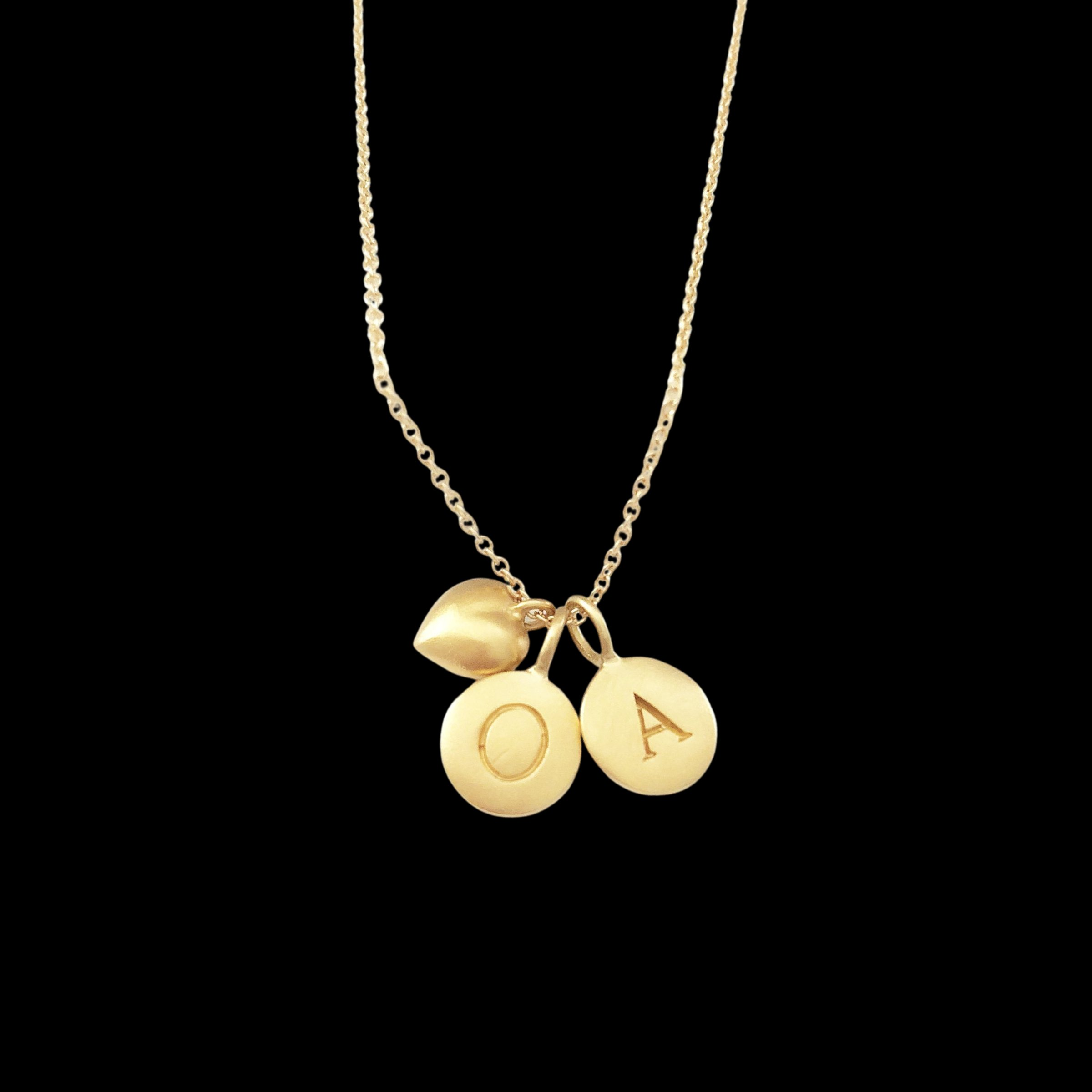 Image of Gold Initials & Puffed Heart Charm Necklace