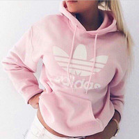 "Pink ""Adidas"" Hooded Top Sweater Pullover Sweatshirt"