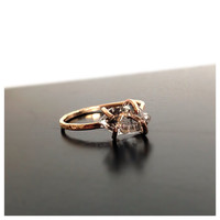 Herkimer Gold Diamond Engagement Ring, 14k Gold Filled Diamond Solitaire Ring