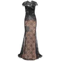 zuhair murad - floor-length embellished lace dress