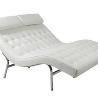 Valencia-2 Lounge Chair White Leather/Chrome