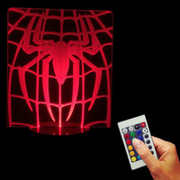 Superhero Spiderman Spider Logo Lit Acylic Display 3D Lights LED Optical Illusion Desk Lamp Light