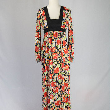 Vintage 70s Tomato Maxi Dress Cutest Novelty Print