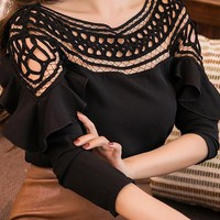 Black Cut Out Ruffle Off Shoulder Sweet Going out Blouse