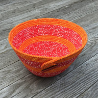 Orange and Red Coiled Fabric Bowl, Basket