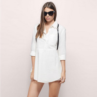Lapel Collar Flounced Asymmetric Layered Shirt Dress