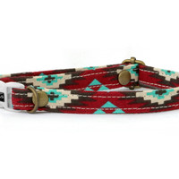 Onat Cat Collar - Tribal Red - Breakaway Safety Buckle - Sizes for Cat, Kitten, Dog