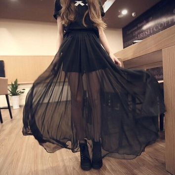 Autumn Korean Women's Fashion See Through Black Chiffon Prom Dress Maxi Dress [6269614086]