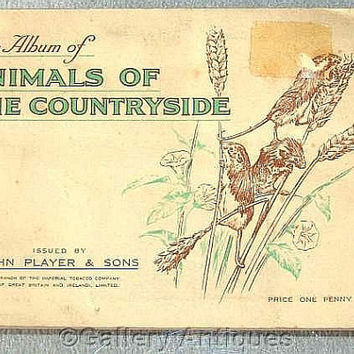 Animals of the Countryside Full Set of 50 Cigarette Cards in Original Album by John Player & Sons Issued in 1939 (ref: 3190)
