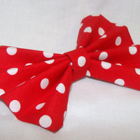 Minnie Mouse Inspired Red with White Polka Dots Hair Bow Clip Rockabilly Pin up Teen Woman