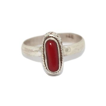 Long Sterling Silver Coral Ring
