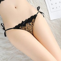 Women's new sexy leopard print lace plus size thong