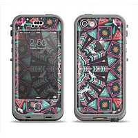 The Mirrored Coral and Colored Vector Aztec Pattern Apple iPhone 5c LifeProof Nuud Case Skin Set