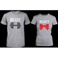 Beauty & Beast Matching Couple Shirts in Grey (Set)