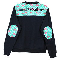 Simply Southern Pullover Navy Wave Sea Turtle Whale Long Sleeve Sweatshirt Shirt Jacket Sweater
