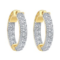 Hoop Earrings  Simulated Diamonds 14k Yellow Finish Sterling Silver