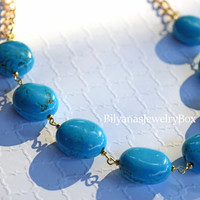 Blue Statement Necklace - Turquoise Necklace - Gold Chunky Chain Necklace - Gold Statement Necklace - Bright Statement Necklace