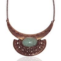 Faux Turquoise Acrylic Chain Necklace