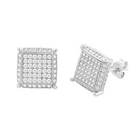 Sterling Silver Stud Earrings Clear Micropave 3d Square 4 Corner Accents 10mm