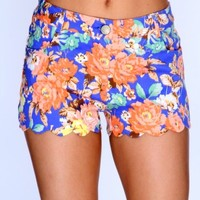 Royal Blue Peach Floral Print Scallop Trim Shorts