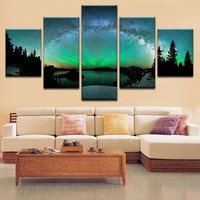Living Room Modern HD Printed Wall Art Pictures Painting Aurora Borealis Nature Landscape Home Frame Poster Decoration