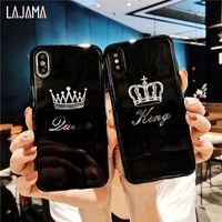 King Queen Crown Soft Case For iPhone X 7 8  6 6 s 7 Plus 7P 8P Lovers Cases Rubber Phone Case For iPhone 6 7 8 Plus Case