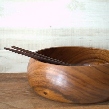 Large Wooden Serving Bowl, Wood Fruit Bowl, Wooden Salad Bowl