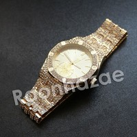 Hip Hop Gold Techno Pave Gold Wrist Watch