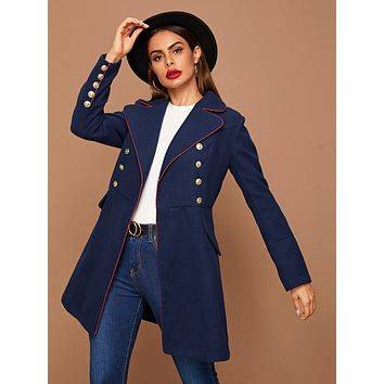 SHEIN Contrast Trim Notched Collar Buttoned Front Pea Coat