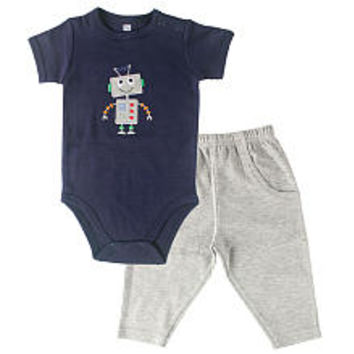 Hudson Baby Boys 2 Piece Robot Navy Bodysuit and Grey Pant Set