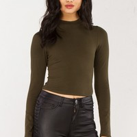Mock Neck Long Sleeve Crop Top in Olive, Black and Burgundy