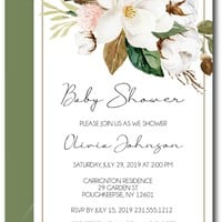 Magnolia Baby Shower Invitations