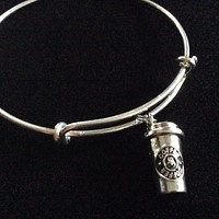 Coffee Cup Charm on a Silver Expandable Silver Wire Bangle Bracelet Gift Adjustable One Size Fits All Trendy Gift Stacking